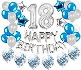 18 Decoraciones De Cumpleaños Para Niños y Niñas Azul 18th Happy Birthday Banner Garland Foil Confetti Deco Globos Fiesta De Cumpleaños Set