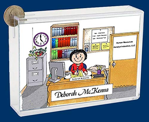 Personalized Friendly Folks Cartoon Caricature Bank: Office – Female