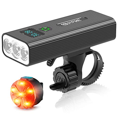 EBUYFIRE Set di luci per Bicicletta USB Ricaricabile, Faro e fanale Posteriore per Bicicletta Super Luminosi, 5 modalità di Illuminazione, Luce per Bici con Display Digitale a LED (1200lumen)