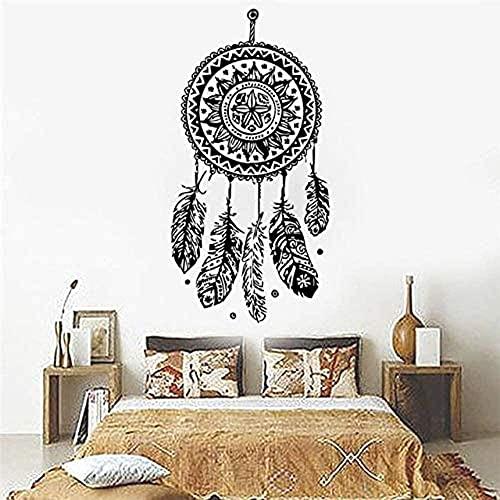 TJVXN Atrapasueños Vinilo decoración del hogar calcomanía Pluma Noche símbolo Indio Dormitorio Sala de Estar Arte 56X112 cm