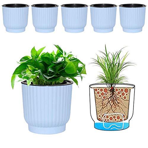 MOHENA 15CM vasi autoirriganti con corda contton per piante da interno, vasi da fiori in plastica per tutte le piante da appartamento, fiori, violette africane - confezione blu da 6