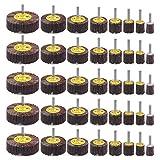 40 Pack 1/4' Abrasive Flap Wheel Sander Set, Rocaris 80 Grit Aluminum Oxide Flap Wheels Cone Shape Sanding Wheel, 8 Sizes