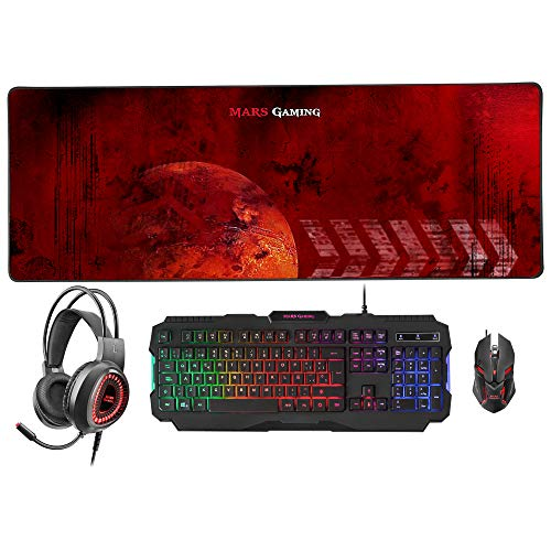 Mars Gaming MCPRGB2ES, Combo Gaming Teclado y Ratón +Alfombrilla XXL+ Cascos, ES