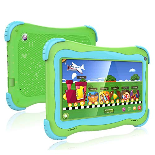 Kids Tablet 7 Android Kids Tablet Toddler Tablet Kids Edition Tablet with WiFi Dual Camera Childrens Tablet 1GB + 32GB Parental Control, Google Play Store (Green)