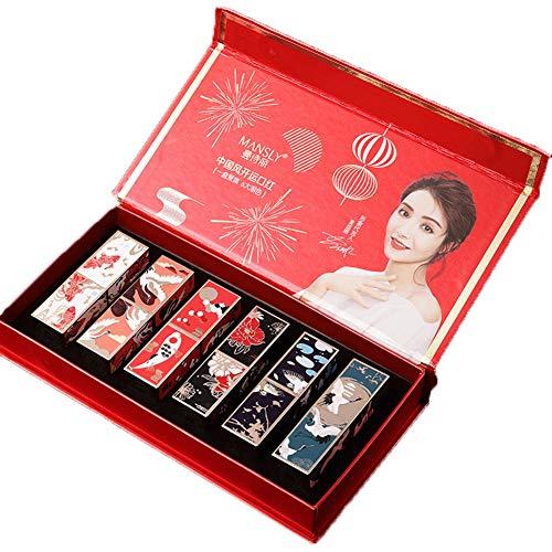 6 Kleuren Lippenstift Waterbestendig Langdurig Mat Fluweelzachte lippenstift Hydraterende lippenstift Lipglossset met geschenkdoos, 3.5g * 6