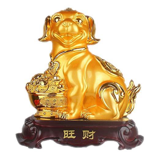 HandWerk Dekoration Hundeskulptur Ornamente Sternzeichen Hund Glück Dekoration Kreative Geburtstagsgeschenke Home Office Ornamente (Color : Gold)