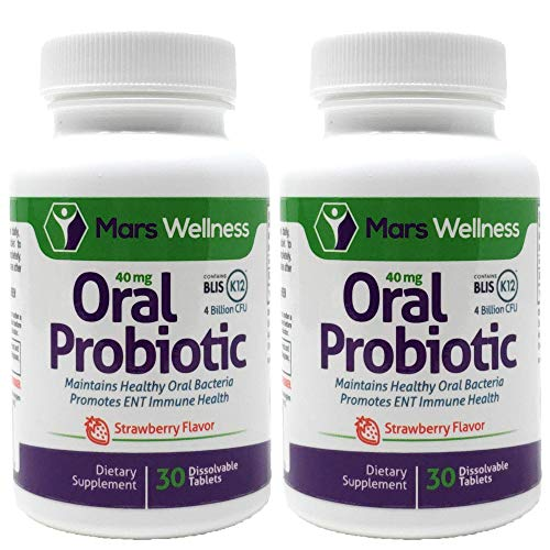 Oral Probiotic Supplement with BLIS K12 4 Billion CFU - Doctor Formulated 60 Day Supply Bottle for Bad Breath, Strep, Cavities, Gum and Oral and Dental Health - Sugar Free - USA Made