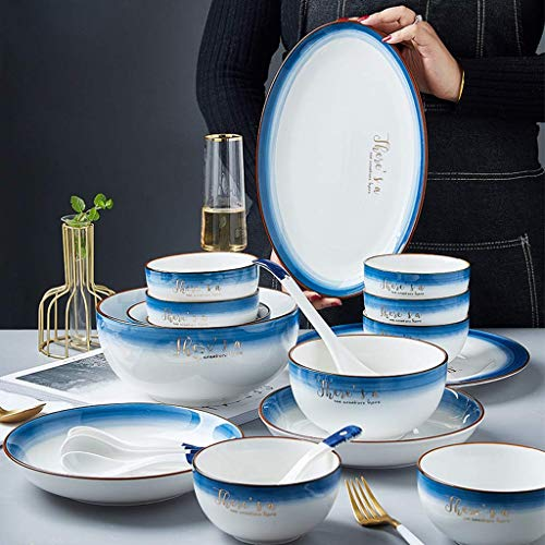 ZJZ Juego de vajilla, Juego de vajilla de cerámica de 38 Piezas, Cuenco, Plato, Cuchara, Juego de combinación de Porcelana Azul Degradado