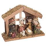 Belén de Navidad con Portal de Resina marrón rústico para decoración navideña Christmas - LOLAhome