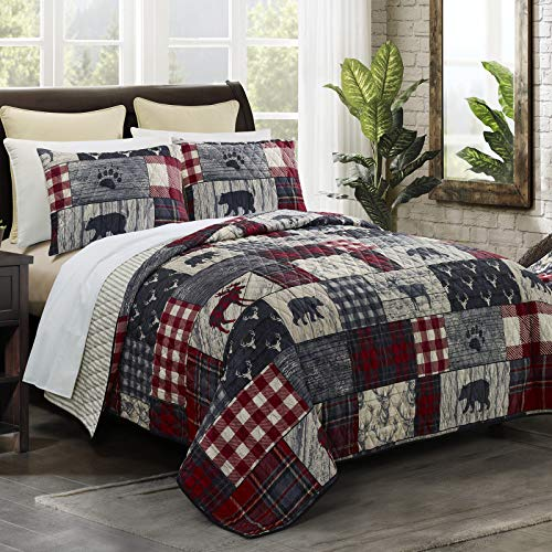 Donna Sharp Twin Bedding Set - 2 Piece - Timber Lodge Quilt Set with Twin Quilt and One Standard Pillow Sham - Machine Washable