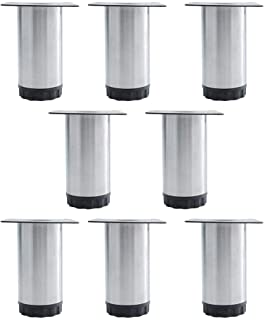 uxcell 4 Inch Furniture Leg Stainless Steel Sofa Table Cabinet Wardrobe Worktop Shelves Feet Replacement Height Adjustable Set of 8