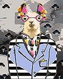 TYLPP Pintura por números para adultos niños alpaca con gafas de lino lienzo DIY pintura digital por números kits de juguetes para niños regalos pintado a mano decoración 16×20 pulgadas sin marco