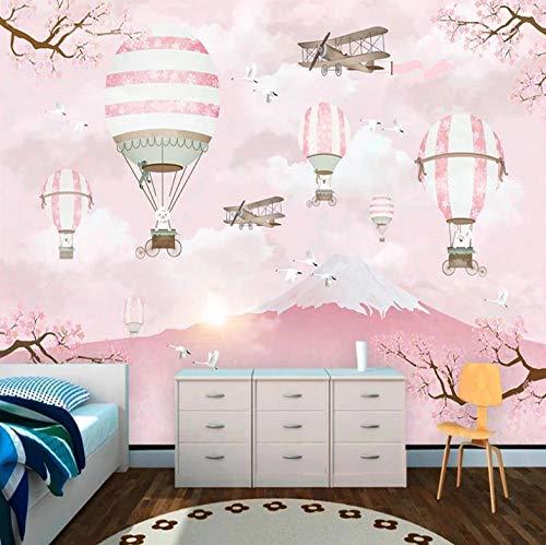 Fotomural Vinilo Pared Rosa Flor De Cerezo Japón Fuji Montaña 350X250Cm Fotomural Para Paredes Mural Vinilo Decorativo Decoración Comedores, Salones,Habitaciones