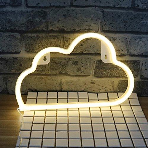 QiaoFei Nube de luz de neón, lámpara de decoración para el hogar, decoración de Pared para Navidad, Fiesta de cumpleaños, Sala de niños, Sala de Estar, decoración de Fiesta de Bodas (cálido Blanco)