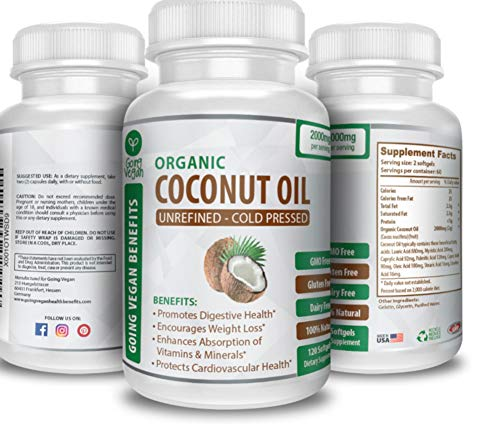 Organic Coconut Oil Capsules 2000mg - 100% Extra Virgin, Cold Pressed for Healthy Skin, Extra Hair Growth, Nail Care, Weight Management & Brain Booster - 120 Softgels - Unrefined Pure & Non GMO Pills