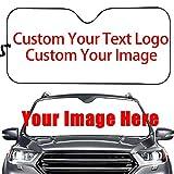 NewL - Parasole per parabrezza auto, con immagine personalizzata o testo su parabrezza auto, protezione solare per finestrini anteriori, in alluminio