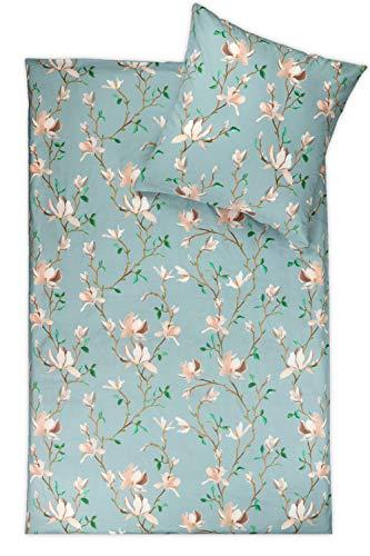 jilda-tex Bio-Bettwäsche 2-teilig 100% Bio-Baumwolle Made IN Green Design Magnolia Blossom Bettwaesche 135x200 cm + 80x80 cm
