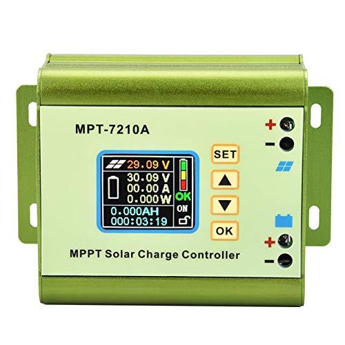 FEBT Controlador de Carga del Panel Solar, MPT-7210A Controlador de Carga del Panel del Controlador de Carga Solar con Pantalla LCD Controlador de Carga Solar MPPT LCD de aleación de Aluminio