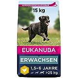Eukanuba Hundefutter mit frischem Huhn für große Rassen, Premium Trockenfutter für ausgewachsene Hunde, 15 kg