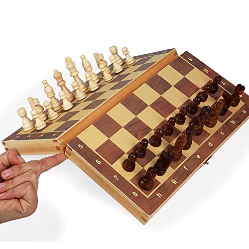 QXue Magnética Juego de ajedrez de Madera Tablero de Mesa Plegable Portátil Damas Regalo para Niños y Adultos