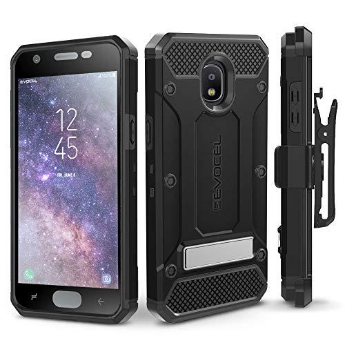 Galaxy J7 2018 / J7 Refine / J7 V 2nd Gen / J7 Star Case, Evocel [Explorer Series Pro] Premium Full Body Case w/Glass Screen Protector, Belt Clip, Metal Kickstand for J7 Top / J7 Crown, Black