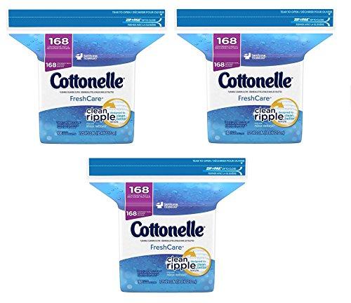 Cottonelle Fresh Care Flushable Moist Wipes Refill OglBkj, 168 Count, (3 Packs)