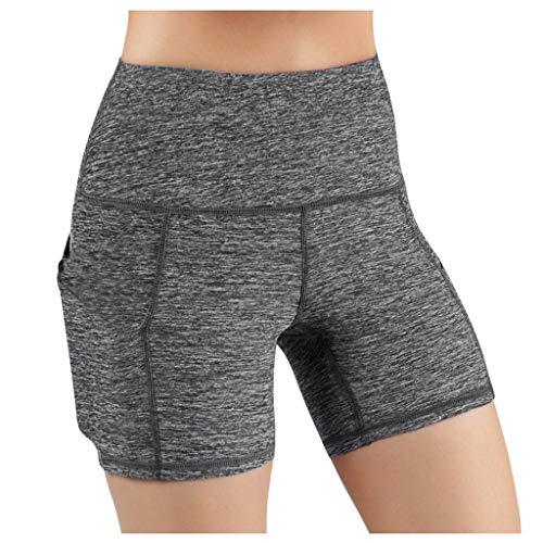 SHOBDW Leggings Cortos Mujer Cintura Alta Yoga Mallas Pantalones Cortos Deportivos Leggins con Bolsillos Secado rápido Yoga Running Elásticos Reducir Abdomen Medias(Gris3,XXL)