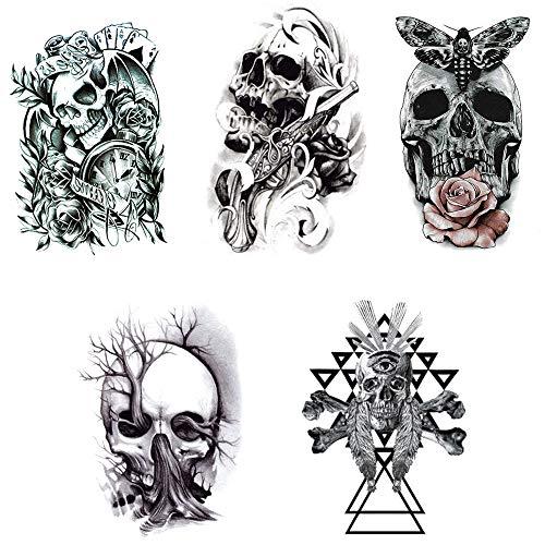 SKULLS with colored ORNAMENTS Donna T-Shirt Tatuaggio tätowierer Teschio Cranio