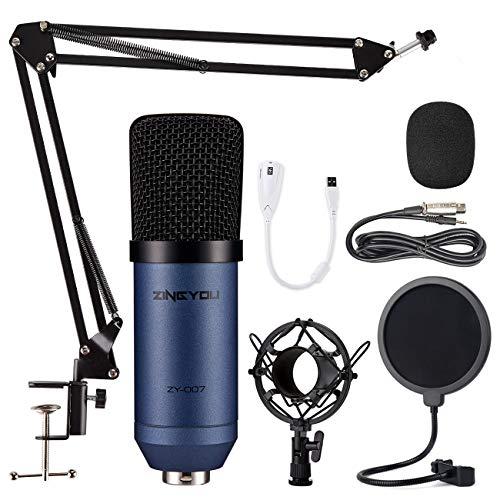ZINGYOU Kondensator Mikrofon Set, Professionell Tisch Studio Mikrofon mit ArmStänder&Halter, ZY-007 Großmembran Streaming Mic Kit für PC, Aufnahme,Podcast,Gaming,Youtube(Blau)