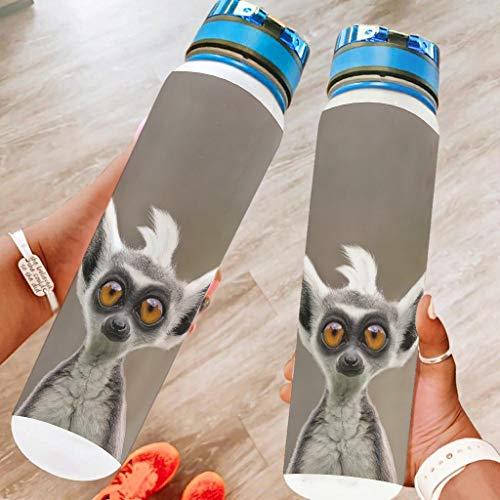 Banniyouall Botella de agua de los deportes de Lemurs animales regalos grandes de la botella del viaje para los amigos blanco 1000ml
