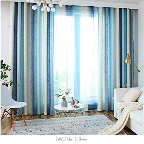Cortina de estar para dormitorio, cortina térmica plisada, supersuave, para paneles de ventana de dormitorio, 1-62045H7T6B (color: azul, tamaño: 170 x 200 cm)