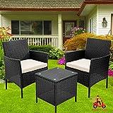 Gartenmöbel-Set, 2-Sitzer, Ratton-Gartenmöbel-Sets mit Rattan-Stühlen und Couchtisch-Kissen, Terrassenmöbel