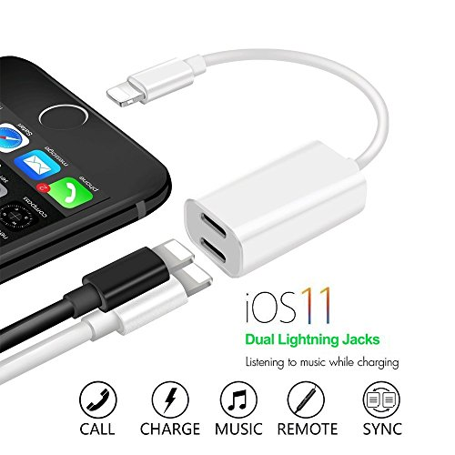 Dual Ports Adapter Splitter, 2 in 1 Headphone Jack Aux Audio, Compactible for Ip7/ 7 Plus/ 8/Plus/X (Support Calling + Sync + Music Control + Charge) Support iOS 11.0.1 or Higher