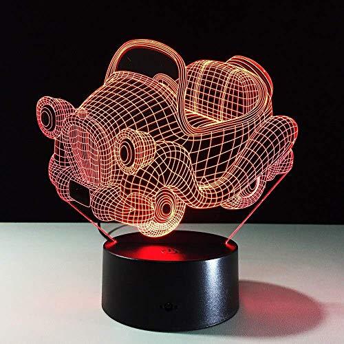 7 colores retro mecedora coche 3D noche luz acrílico placa RGB cambio LED escritorio lámpara 3D...