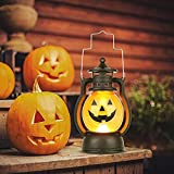 Kürbis Licht, 3 Stück Halloween Laterne mit LED Kerze, Kürbis Laterne Teelichter Batterie LED Kürbis Licht Vintage Laterne Nachtlicht Tragbare Kürbis Lichter für Halloween Deko - 3