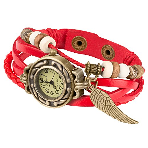 Taffstyle Damen-Armbanduhr Analog Quarz mit Leder-Armband Geflochten Charms Anhänger Uhr Retro Vintage Flügel Gold Rot