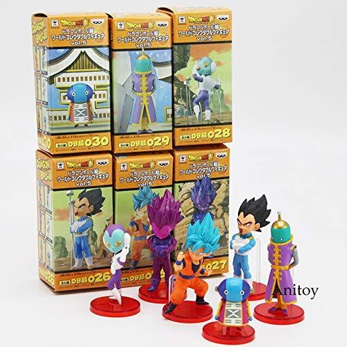 Yvonnezhang Dragon Ball Super Vol.9 Super Saiyan Dios Super Goku Vegeta Kale Frieza Son Gohan Jiren PVC Figuras Juguetes 6pcs / Set con Caja al por Menor, B