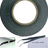 Eco-Fused Cinta Adhesiva para la reparación de teléfonos celulares - 2mm Cinta – Tambien Incluye 1 par de Pinzas/Eco-Fused Paño de Limpieza de Microfibra (Negro)