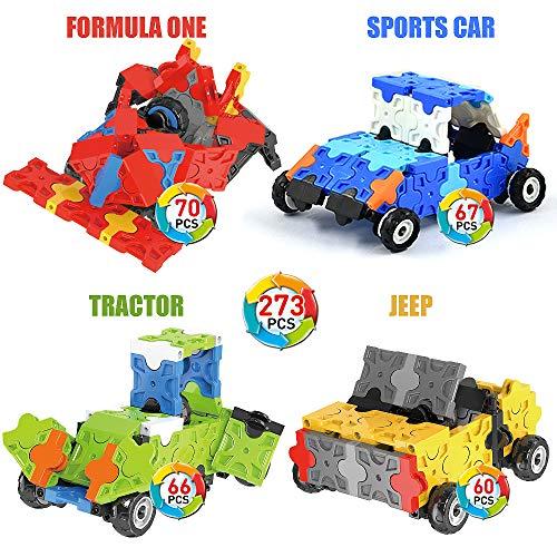 WEofferwhatYOUwant Auto, Traktor & Co. 3D Puzzle Bausatz für Kinder ab 4 Jahre - FLATBLOCKS Level 1 - 273 Teile