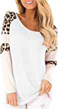 Aniywn Women Long Sleeve Tops Crew Neck Color Block Printing Pullover Casual Leopard Sweater Shirt