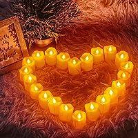 Yixintech キャンドルライト LED 蝋燭 LEDティーライトキャンドル 24個セット 電池式 ロウソク 安全 便利 無香料 無火炎 クリスマス/パーティー/結婚式/誕生日/お祭りのお祝いの装飾用 (黄)