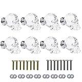 SHINY HANDLES 8pcs Clear Crystal Skull Wardrobe Knob Aluminium Alloy Base,1.7x1.5inch, Factory Supply