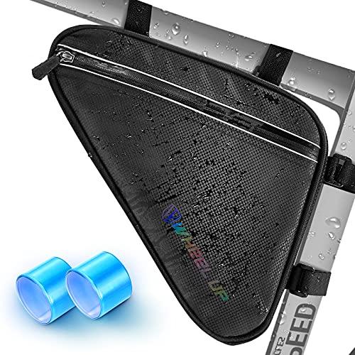 Cikyner Fahrrad Rahmentasche, Satteltasche Wasserdicht Dreiecktasche, reflektierende Fahrradtasche Crossbar-Rahmentasche mit 2 reflektierenden Slap-Armbändern für Fahrradzubehör