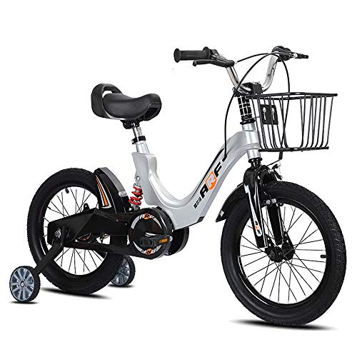 BAOMEI Kids Bike 12/14/16/18 Inch Boy and Girl Biking, Suitable for Children 2-13 Years Old, with Auxiliary Wheel, Fender (Color : Gray, Size : 18in)