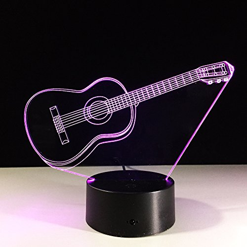 3D nachtlampje muziekinstrument gitaar 7 kleuren afstandsbediening touch slaapkamer lamp hoofddecoratie, kinderkerstcadeau