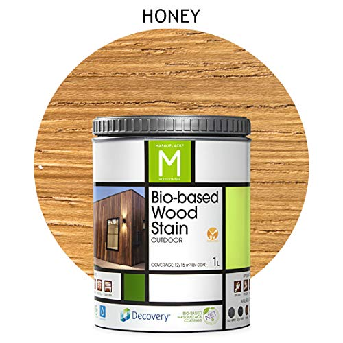 Barniz Madera Exterior | Bio-based Wood Stain | 1 L | Barniz ecológico para todo tipo de madera | Lasur madera exterior | color Honey | Flexible y transpirable, resistente al agua y al moho