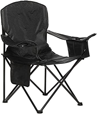 AmazonBasics Extra Large Padded Folding Outdoor Camping Chair with Bag - 38 x 24 x 36 Inches, Black