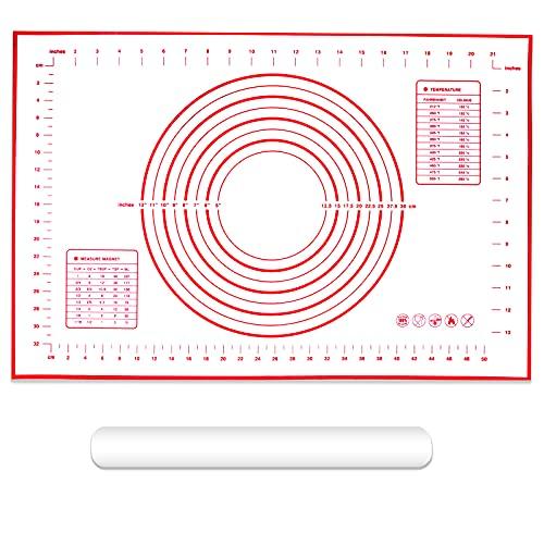 Eagles - Tappetino antiaderente in silicone (400 x 600 mm), foglio da pasticceria Add, 1 mattarello da 40 cm, in polietilene antiaderente per fondenti, pasta di zucchero