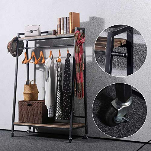 Industrial Clothing Rack with Wood Shelves,Vintage Black Iron Garment Rack with Wheels,Steampunk Commercial Clothes Racks for Hanging Clothes,Retail Display Rolling Cloths Rack Coat Racks Shoe Shelf