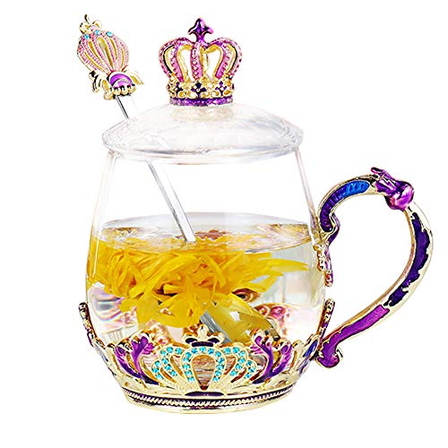 Tea Cups Coffee Mug with Lid Spoon for Women Girls, Handmade Design Sturdy Durable Clear Glass Tea Cups Unique Gift Idea for Mom Wife Sister Daughter Friend (Crown Short)